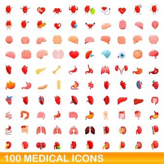 Conjunto de 100 ícones médicos. ilustração dos desenhos animados de 100 ícones médicos isolados