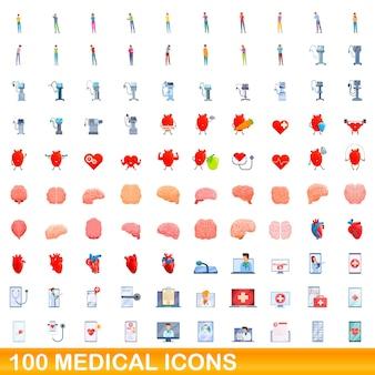 Conjunto de 100 ícones médicos. ilustração dos desenhos animados do conjunto de vetores de 100 ícones médicos isolado no fundo branco