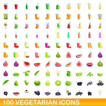 Conjunto de 100 ícones vegetarianos. ilustração dos desenhos animados do conjunto de vetores de 100 ícones vegetarianos isolado no fundo branco