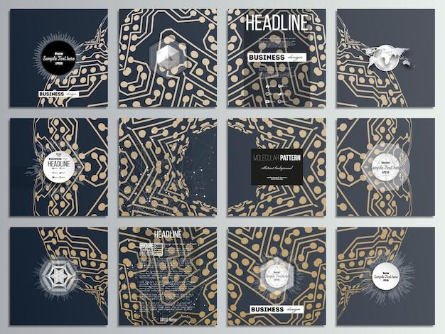 Conjunto de 12 cartões criativos, design de modelo de folheto quadrados.