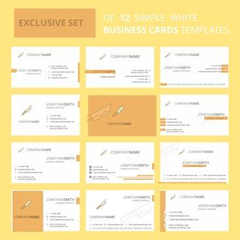 Conjunto de 12 modelos de cartão de visita criativa de faca