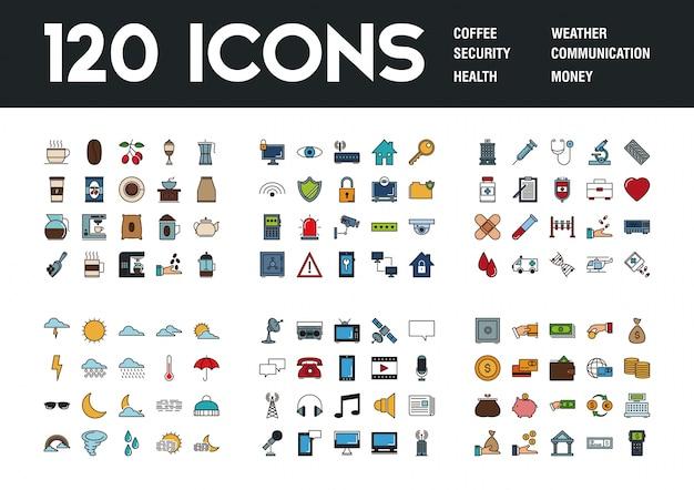 Conjunto de 120 ícones com diferentes temas