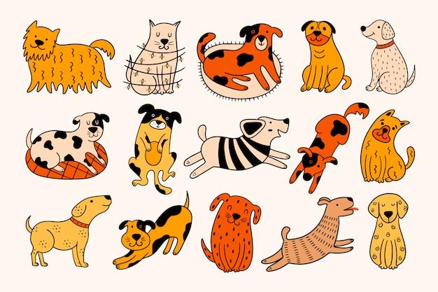 Conjunto de 15 cães desenhados à mão em um fundo bege.