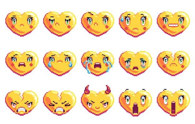 Conjunto de 15 emoções negativas em forma de coração pixel art emoji na cor dourada