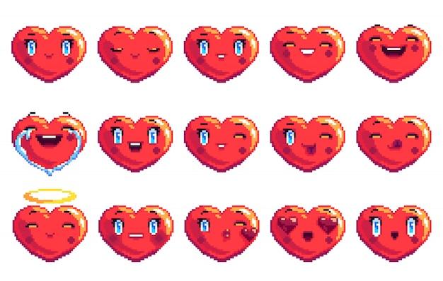 Conjunto de 15 emoções positivas em forma de coração pixel art emoji na cor vermelha
