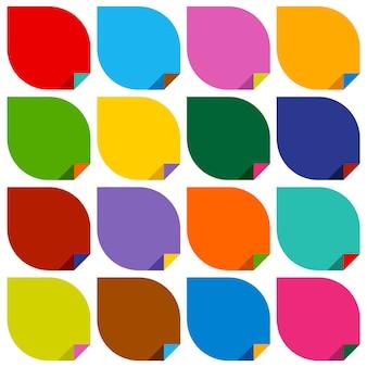 Conjunto de 16 adesivos em branco com ângulos coloridos dobrados