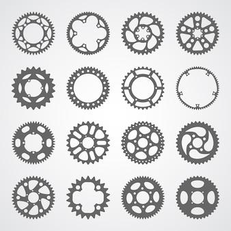 Conjunto de 16 engrenagens e rodas dentadas isoladas
