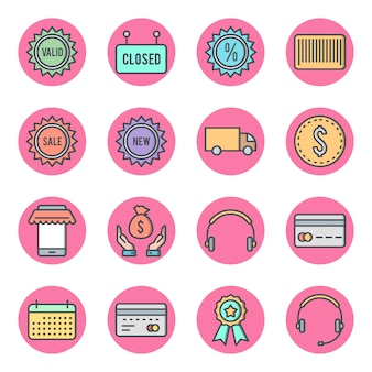 Conjunto de 16 ícones de comércio eletrônico
