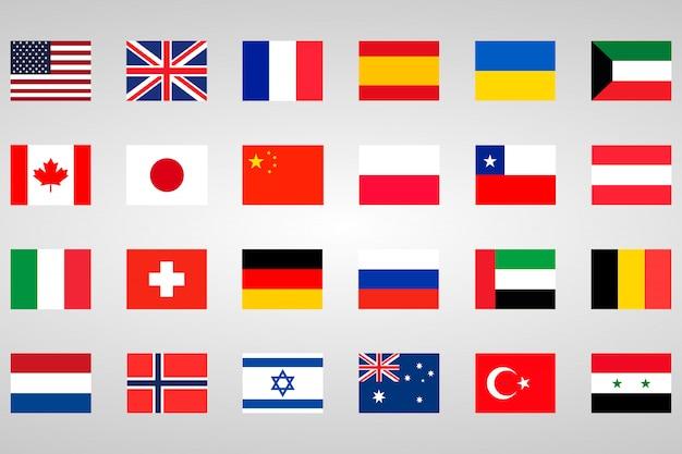 Conjunto de 18 bandeiras diferentes países