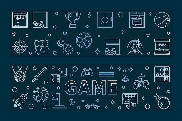 Conjunto de 2 banners de jogo contorno azul. ilustração de jogos