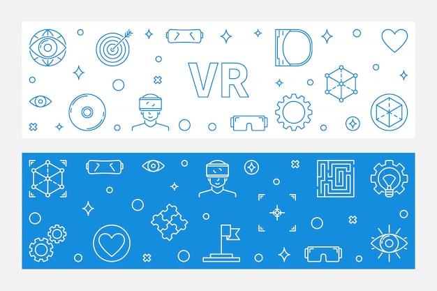 Conjunto de 2 banners lineares de vr com ícones de realidade virtual