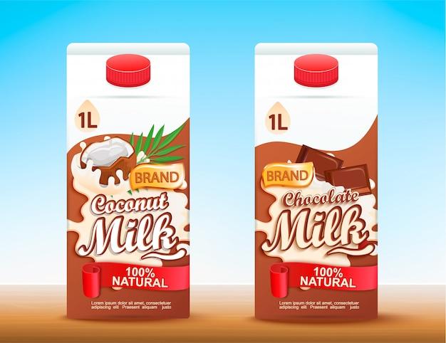 Conjunto de 2 embalagens tetra de leite com gostos diferentes.