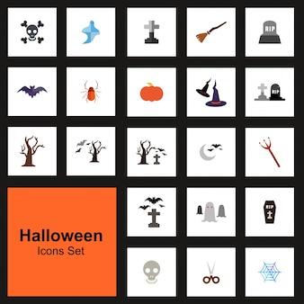 Conjunto de 21 ícones do dia das bruxas no fundo preto