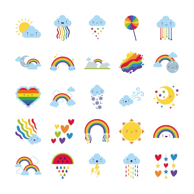 Conjunto de 25 ícones de arco-íris e personagens kawaii