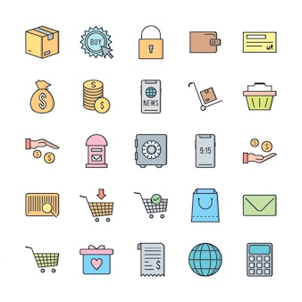 Conjunto de 25 ícones de comércio eletrônico