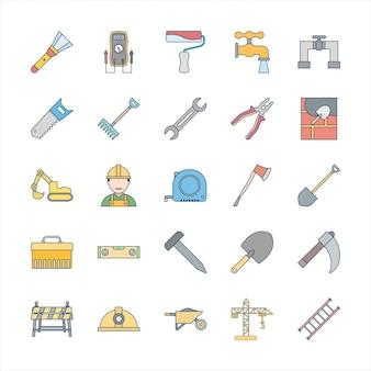 Conjunto de 25 ícones de construção
