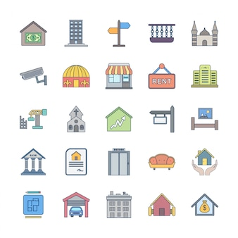 Conjunto de 25 ícones de imóveis
