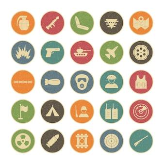 Conjunto de 25 ícones de militares