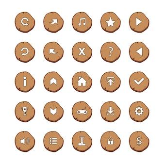 Conjunto de 25 ícones de mistura branca em arredondado marrom log no fundo branco cartoon estilo