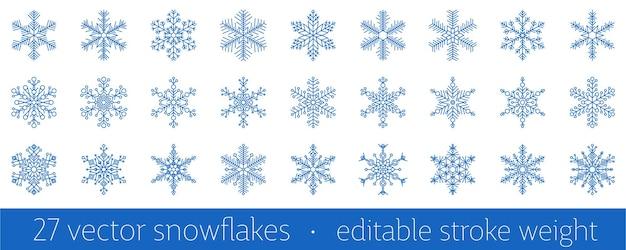 Conjunto de 27 ícone de floco de neve azul - um símbolo das férias de inverno, natal e ano novo, frio e geada - isolado no fundo branco. elemento de design de vetor elegante com peso de traço editável.