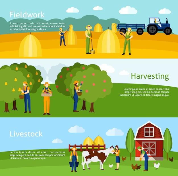 Conjunto de 3 bandeiras planas horizontais de agricultura
