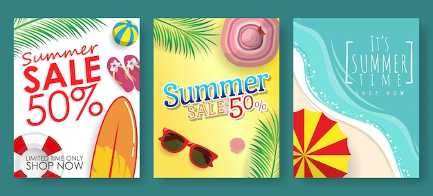 Conjunto de 3 banner de modelo para promoção de desconto de venda de verão com fundo de praia