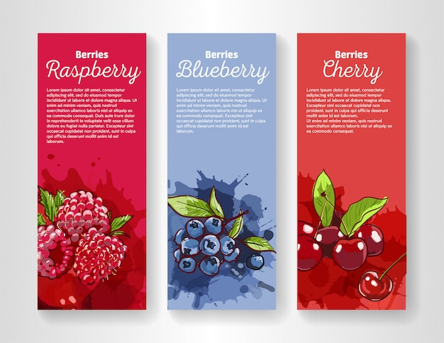 Conjunto de 3 banners verticais com salpicos de suco de diferentes frutas vermelhas.