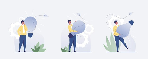 Conjunto de 3 empresário com uma ideia. ilustração vetorial