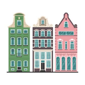 Conjunto de 3 fachadas de desenhos animados de casas antigas de amesterdão