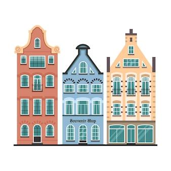 Conjunto de 3 fachadas de desenhos animados de casas antigas de amsterdã
