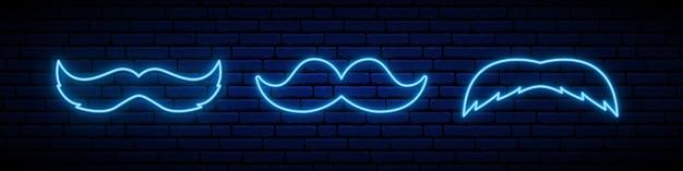 Conjunto de 3 ícones de bigode de néon azul.
