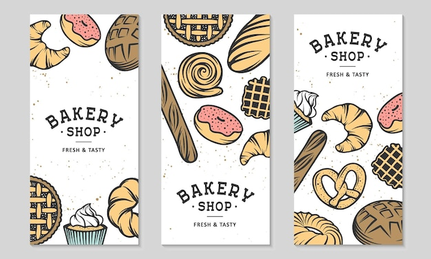 Conjunto de 3 panfletos de padaria ou brochura publicidade com bolo de pão, torta, pães e doces queque
