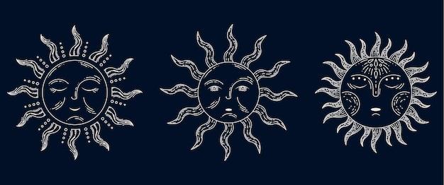 Conjunto de 3 sol em ilustração de estilo retro