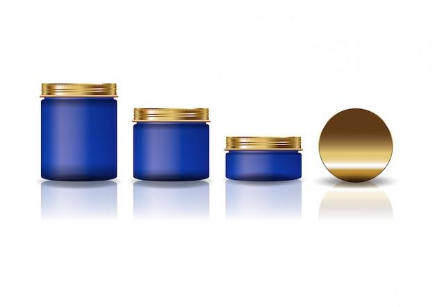 Conjunto de 3 tamanhos azul redondo frasco cosmético com tampa de ouro para produtos de beleza ou saudável.