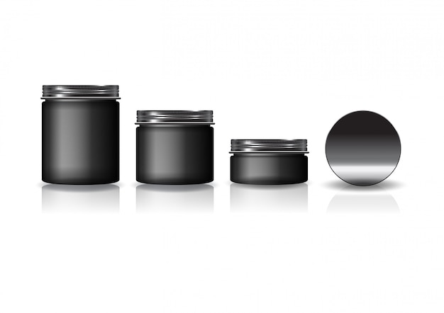 Conjunto de 3 tamanhos preto frasco redondo cosmético com tampa preta para beleza ou produto saudável.