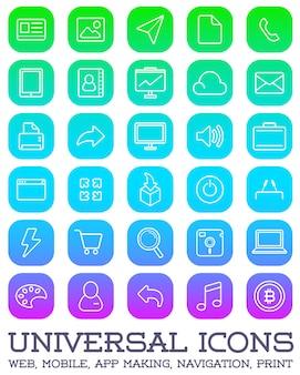 Conjunto de 30 ícones universais