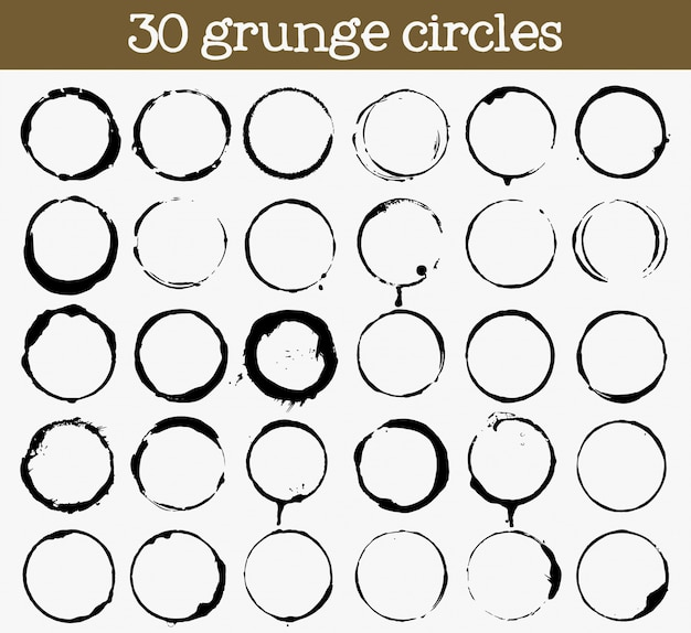 Conjunto de 30 texturas de círculo grunge