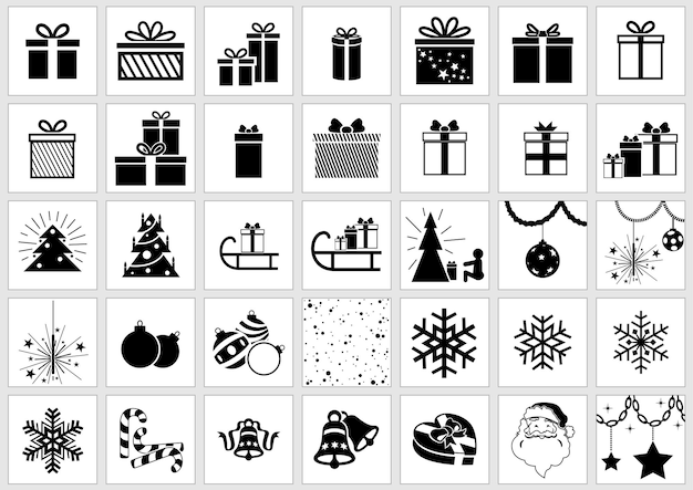 Conjunto de 35 ícones de natal