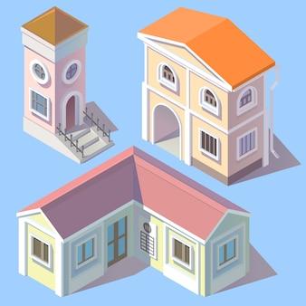 Conjunto de 3d edifícios residenciais isométricos em estilo cartoon. torre, propriedade urbana com entrada