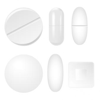 Conjunto de 3d realista brancos comprimidos médicos, cápsulas. vetor