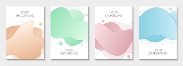 Conjunto de 4 banners gráficos modernos abstratos de líquidos modelos isolados com formas fluidas de líquido