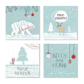 Conjunto de 4 bonitos cartões-presente de natal com citação