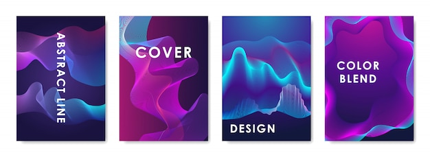 Conjunto de 4 capas de design com formas abstratas gradientes.