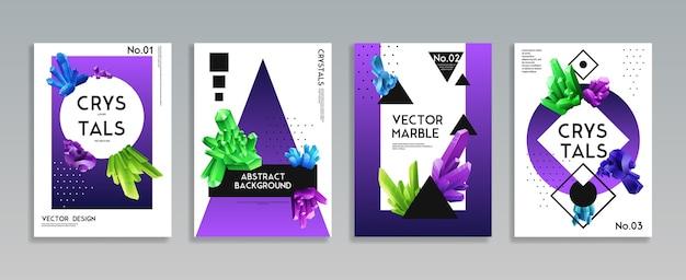 Conjunto de 4 capas decorativas realistas com cristais coloridos