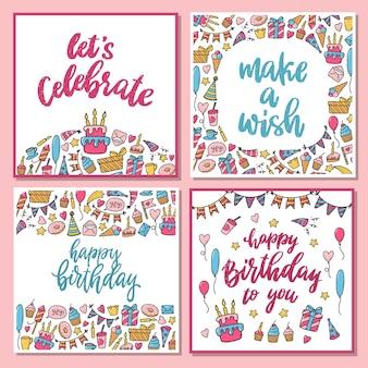 Conjunto de 4 cartões de aniversário com rabiscos e citações