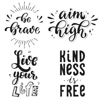 Conjunto de 4 citações inspiradoras de letras de mão
