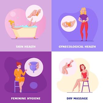 Conjunto de 4 composições planas de conceito de higiene feminina com ilustração em vetor produtos ginecológicos saúde vaginal massagem cuidados com a pele