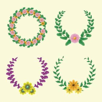 Conjunto de 4 coroas de louros com cores verdes e roxas com flores amarelas e rosa