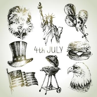 Conjunto de 4 de julho. ilustrações desenhadas à mão do dia da independência da américa