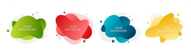 Conjunto de 4 elementos líquidos gráficos modernos abstratos.